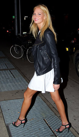 Erin Heatherton topped a white dress with a cool leather jacket, then glammed up with strappy heels.