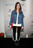 Mandy Moore gave us some casual styling fodder in a classic leather jacket and cool-girl Chloé boots.