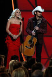 Carrie Underwood appeared on stage with Brad Paisley at the Country Music Association Awards in Nashville.
