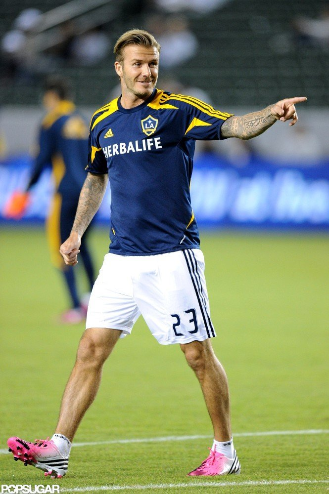 David Beckham playing with the Galaxy.