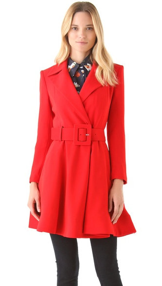 This Alice + Olivia Loris Coat ($697) features a flattering fit-and-flare shape in a seasonal red hue.