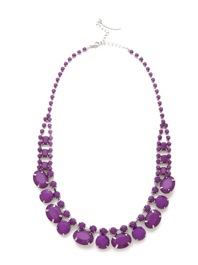 A punchy purple makes this Adia Kibur Short Stone Necklace ($45) a brilliant choice, particularly against an emerald blouse.
