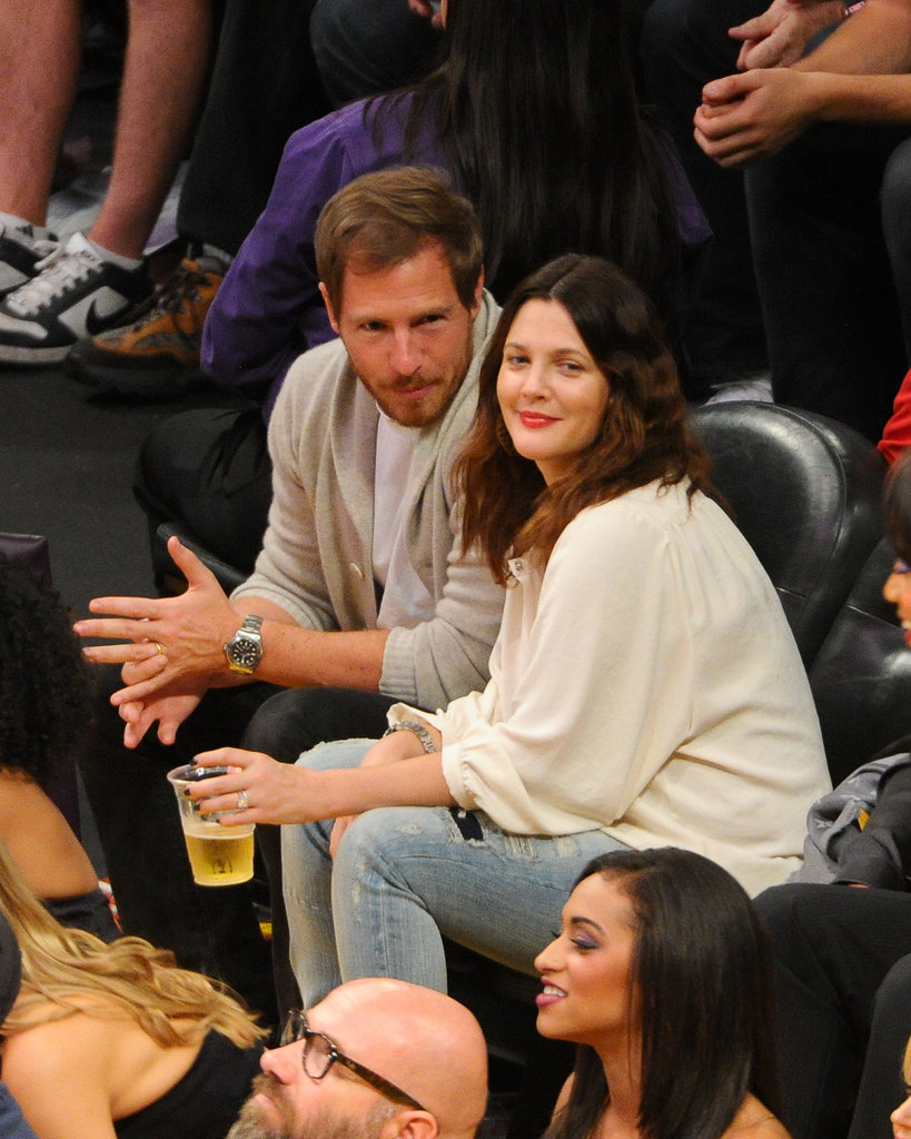 Drew Barrymore and Will Kopelman enjoyed beer and a basketball game in LA in November 2012.