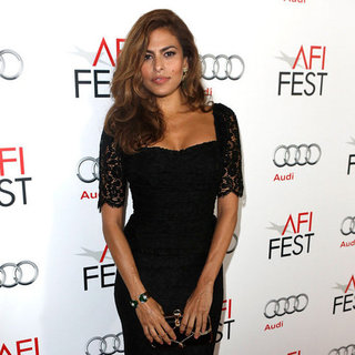 Eva Mendes Wearing Black Lace Dress