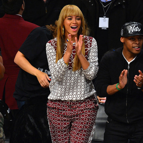 Beyoncé Wearing Printed Top and Pants