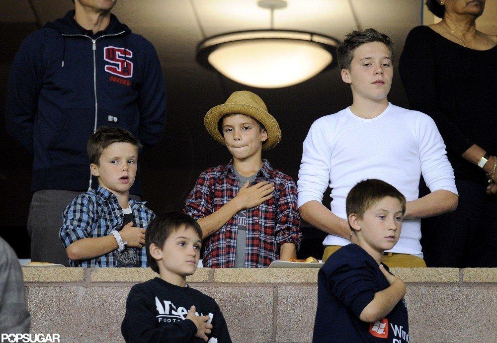Brooklyn Beckham, Romeo Beckham, and Cruz Beckham were in attendance at David Beckham's game.