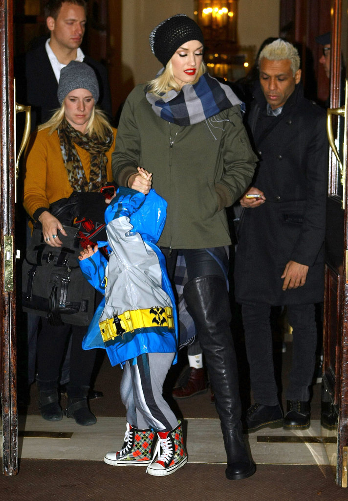 Gwen Stefani held Zuma Rossdale's hand as they left their hotel in London.