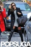 Miranda Kerr wore thigh-high boots in NYC.
