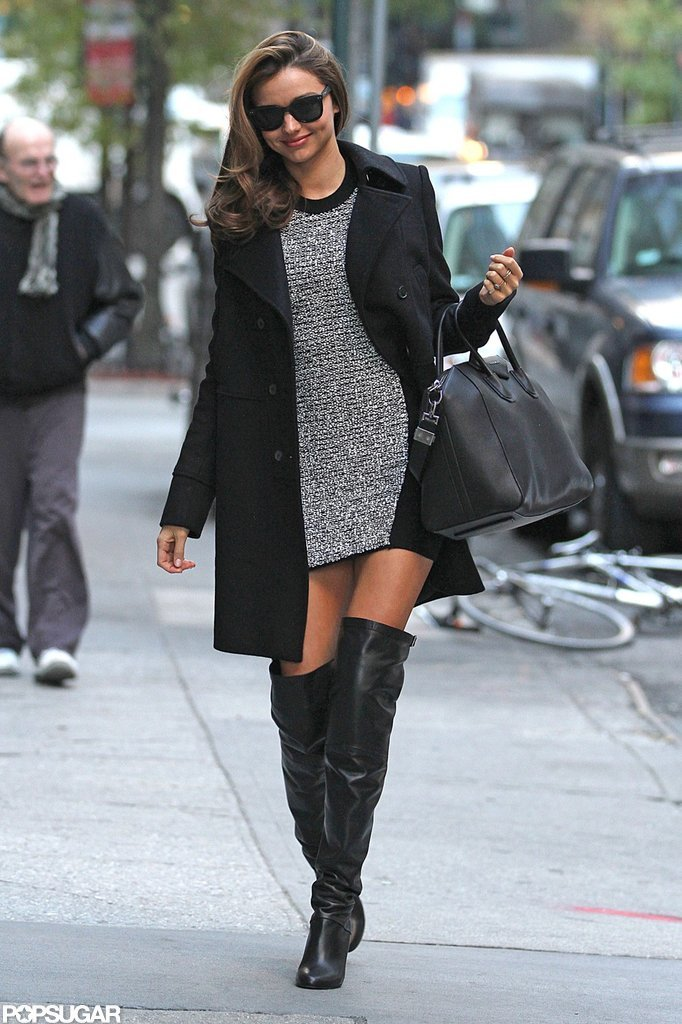 Miranda Kerr wore thigh-high boots.
