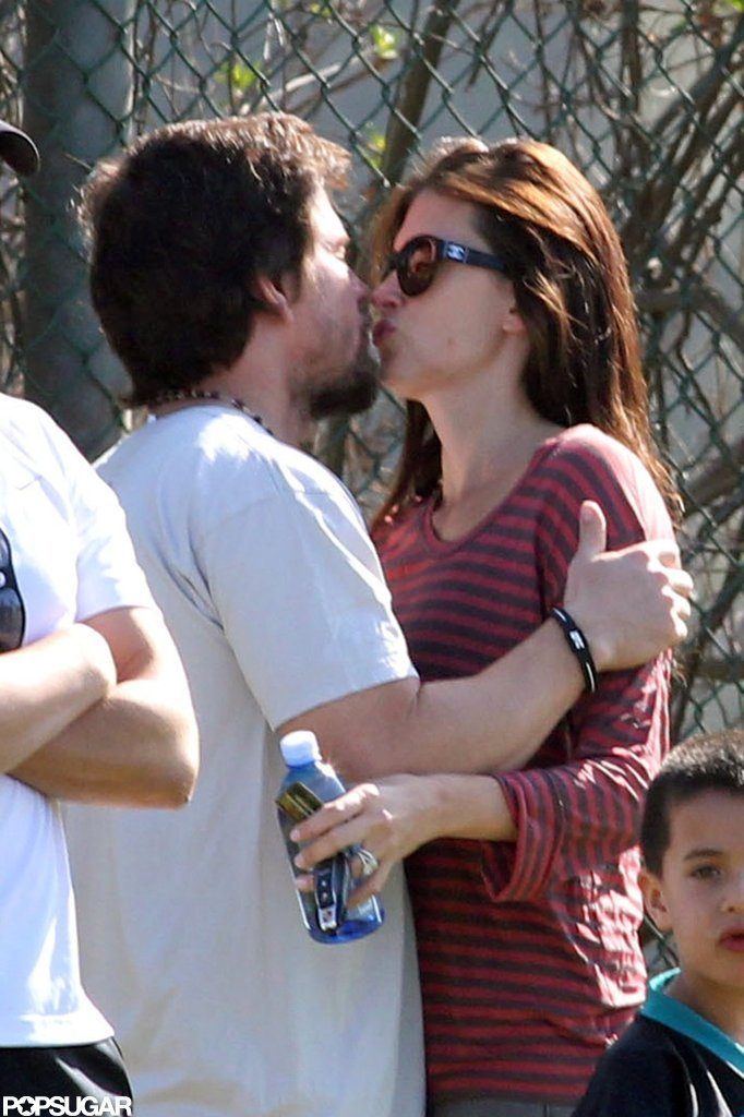 Mark Wahlberg and Rhea Durham snuck a kiss at the park.