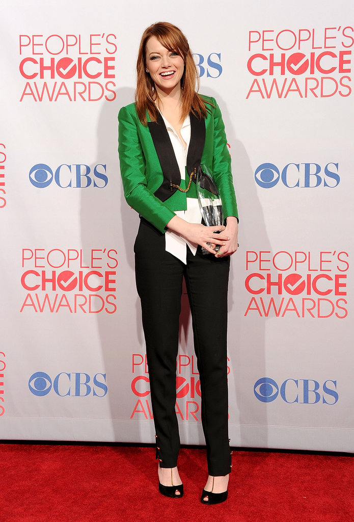 Emma Stone's smile was wide after winning the favorite movie actress award at the People's Choice Awards in January 2012.