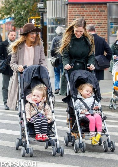 Sarah Jessica Parker and a nanny strolled with Loretta Broderick and Tabitha Broderick.