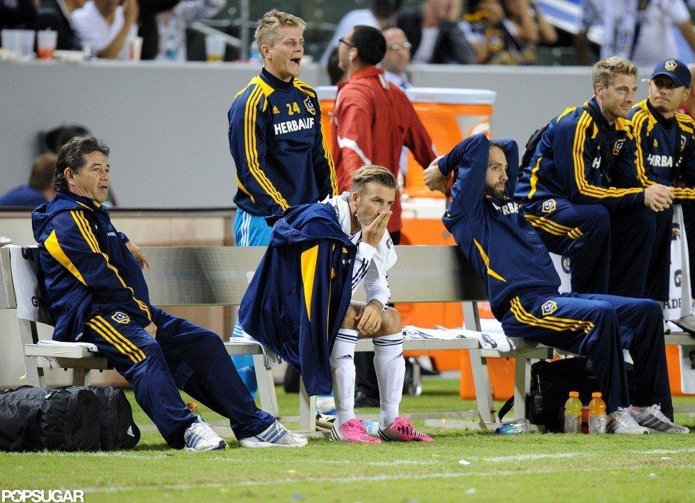David Beckham took the bench at this LA soccer game.