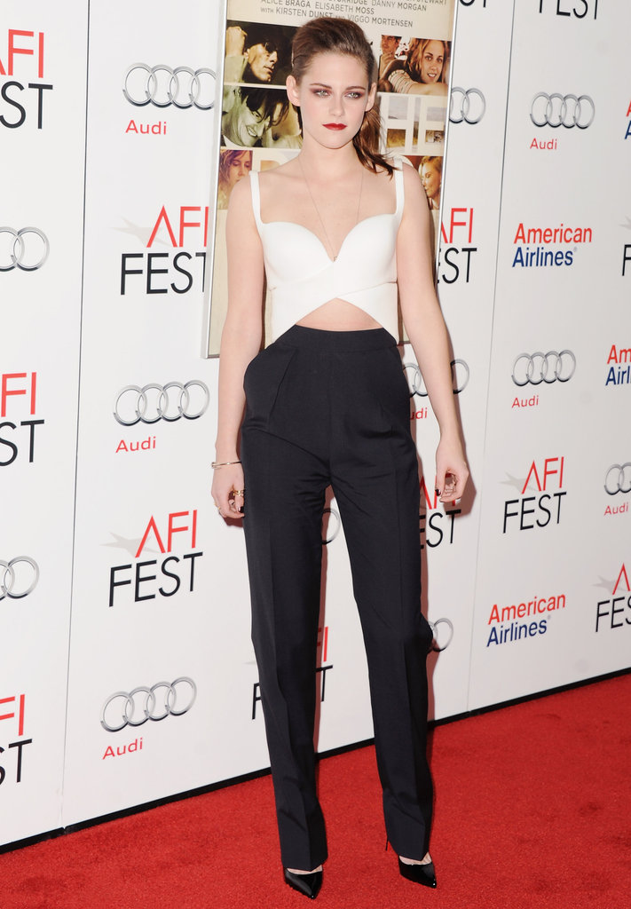 Kristen Stewart showed off a bold black and white look for her On the Road premiere at the AFI Fest.