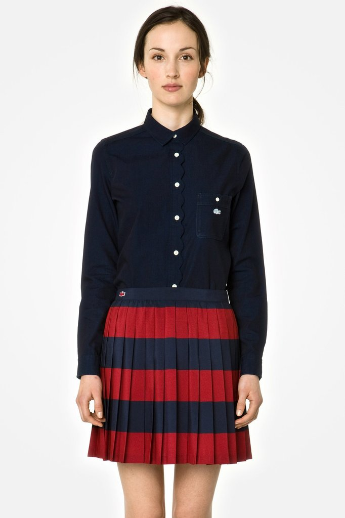 Classic, pleated, and in the perfect complementary shades of red and blue? Yes, this Lacoste L!VE pleated miniskirt ($125) will definitely look the part at the polls. Just add opaque tights, booties, and a dark blouse into the mix.