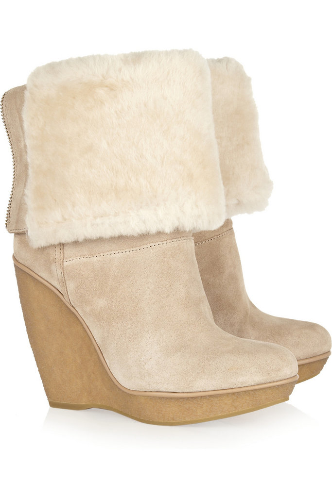 These KORS Michael Kors Emmet Suede and Shearling Wedge Boots ($425) are ideal for a weekend cabin retreat in the mountains.