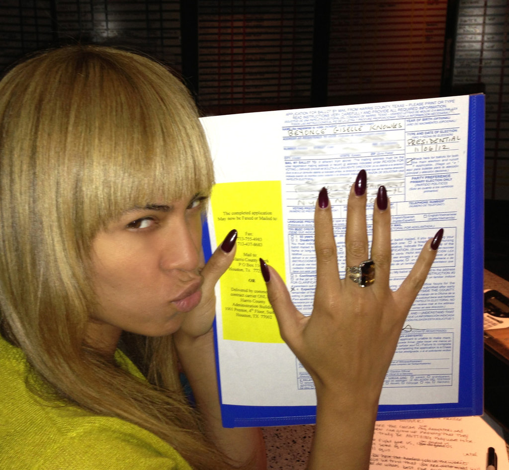 Beyoncé Knowles showed off her new bangs alongside her ballot. Source: Tumblr user IAmBeyoncé