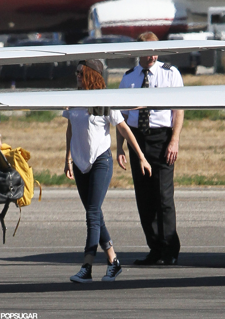Kristen Stewart walked on the tarmac.