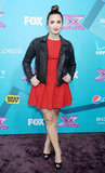 Demi Lovato chose a red dress to attend the part in LA.
