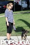 Pregnant Kristen Bell walked her dog.
