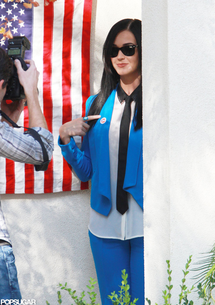 "Katy Perry proudly showed off her ""I Voted"" sticker at the polls in Los Feliz, CA."