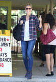 Heidi Klum gave the peace after voting in LA.