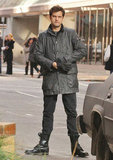 Joshua Jackson layered up to keep warm while on set in Vancouver.