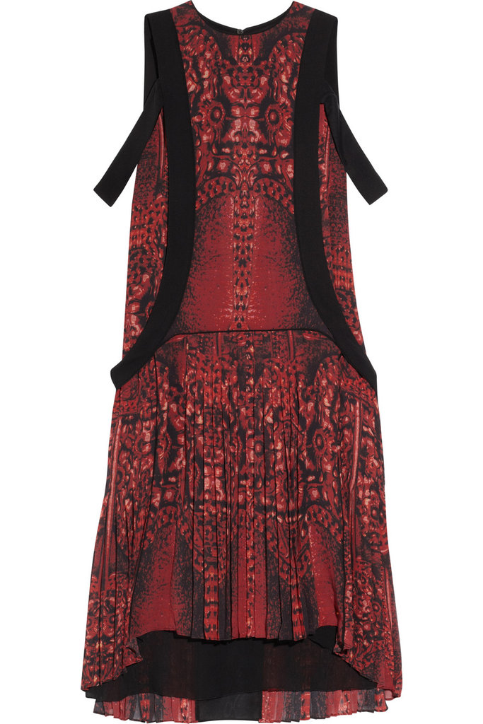 How perfect is this Roberto Cavalli multicolored printed red silk dress ($537, originally $3,580) for the party season ahead?