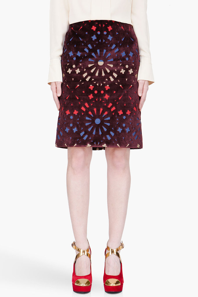 Invest in the ultimate statement piece with this beautiful Carven Velvet Cutout Skirt ($675).