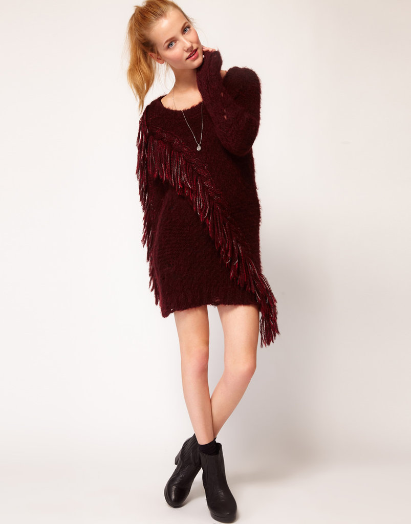 If you've got a penchant for bohemian styles, this fringed mohair sweater dress from Diesel ($259) is your one-stop shop. Plus, it just so happens to be in the season's most obsessed-about color: oxblood red.