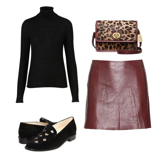 This look was inspired by Alexa Chung  — see it here — cute, right? Shop the look:  Topshop Knitted Merino Wool Roll Neck Top ($90) T by Alexander Wang Leather Mini Skirt ($539) Coach Legacy Haircalf Colorblock Mini Mini Crossbody ($198) Robert Clergerie Jonas ($595)