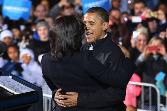 The Obamas shared a sweet hug on stage.