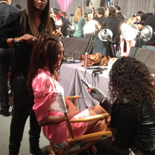 Joan Smalls chatted with reporters backstage. Source: Instagram user fabsugar