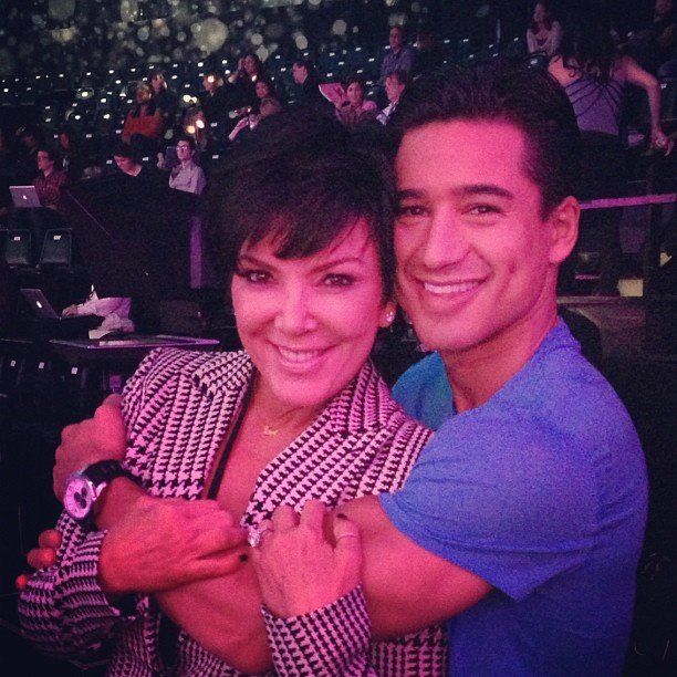 Kris Jenner got a hug from Mario Lopez on the set of The X Factor. Source: Instagram user krisjenner