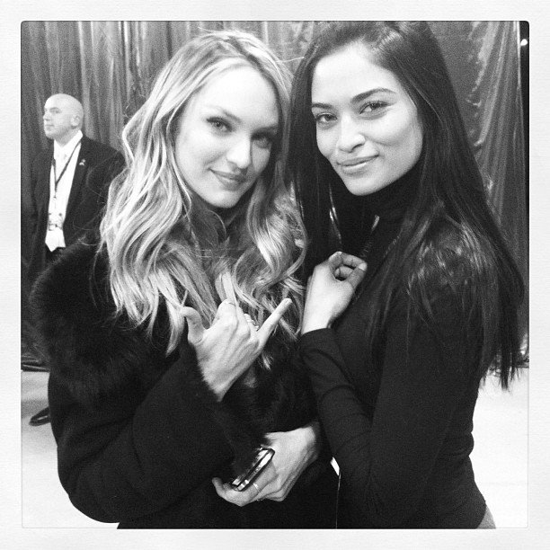 Shanina Shaik and Candice Swanepoel hung out while getting ready for the show. Source: Instagram user jastookes