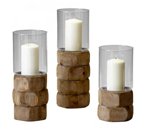 The faceted wood bases and sleek glass tops on these Mahari Candleholders ($53) meld rustic and contemporary aesthetics.