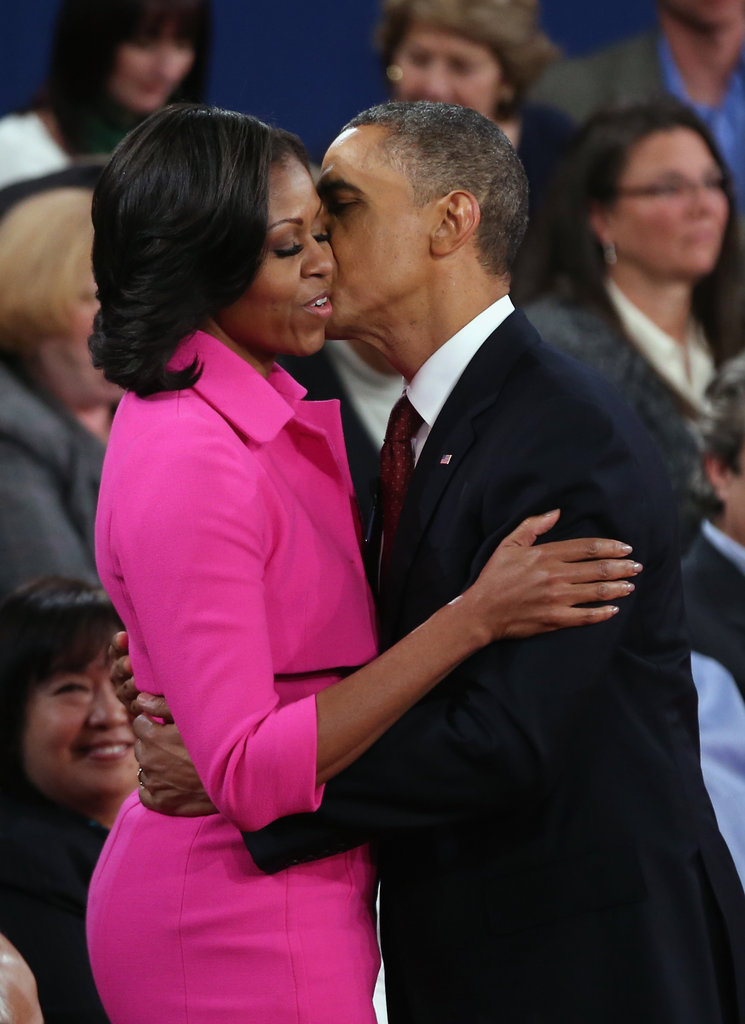 The Obamas embraced at the second presidential debate.