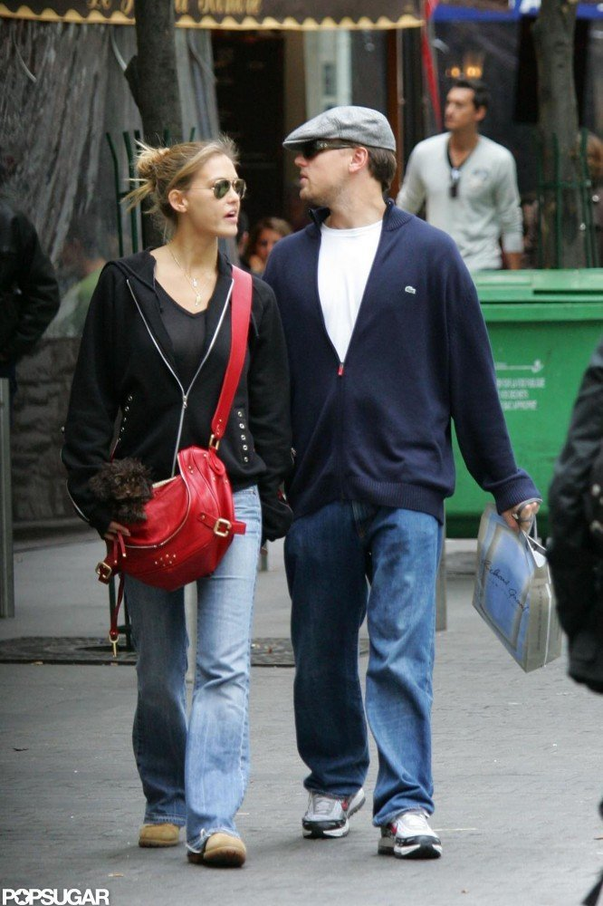 Leonardo DiCaprio and then-girlfriend Bar Refaeli went for a stroll through the Paris streets in October 2006.