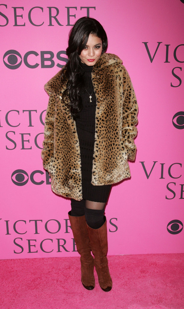 Vanessa Hudgens donned a little leopard to up the ante on her black turtleneck.