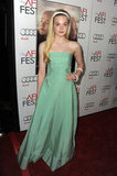 Elle Fanning looked perfectly pretty in a green-striped Oscar de la Renta gown at a Ginger & Rosa screening in Hollywood.