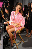 Miranda Kerr got ready in a makeup chair.