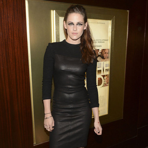 Kristen Stewart Wearing Black Leather Dress