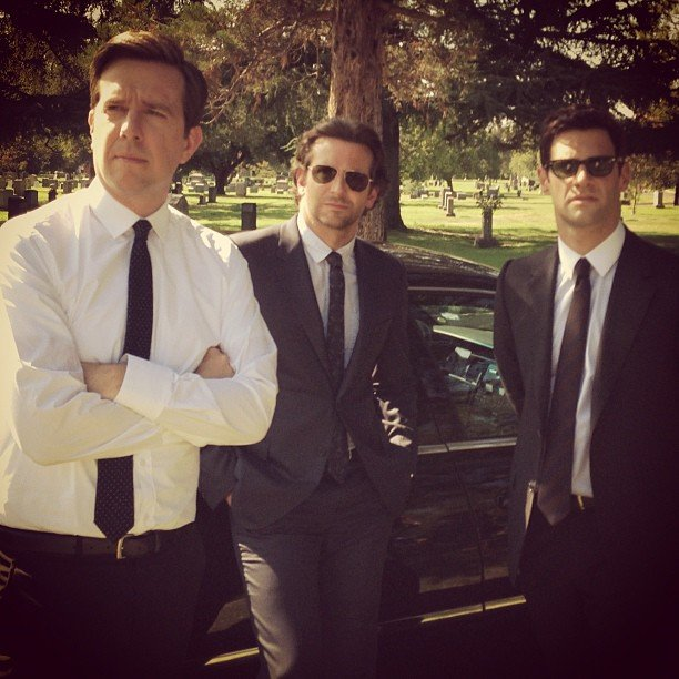 Stu (Ed Helms), Phil (Bradley Cooper) and Doug (Justin Bartha) suit up for . . . a wedding? A funeral? Source: Instagram user toddphillips1