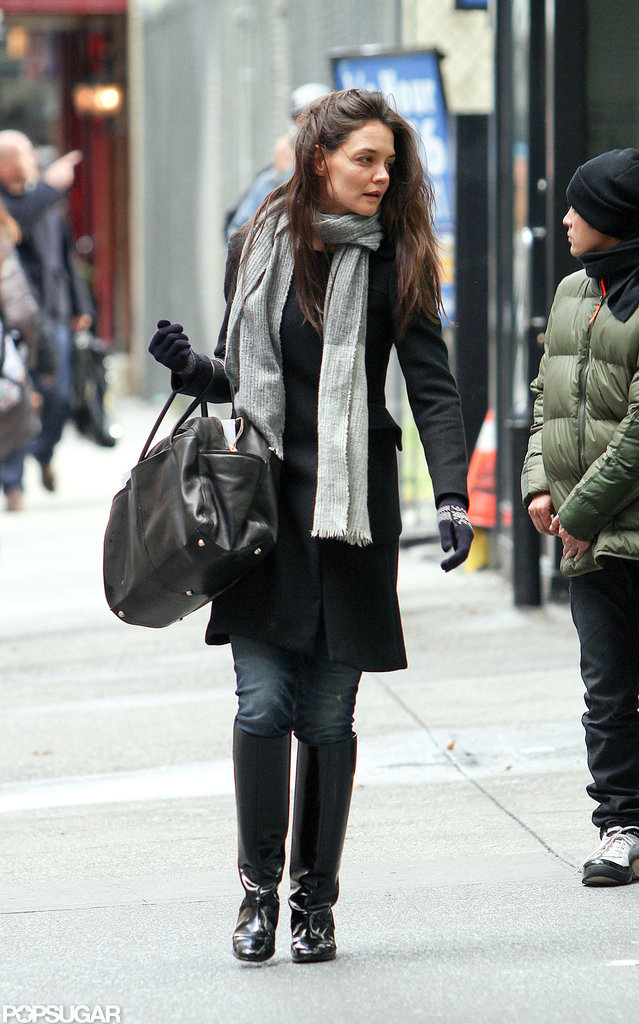 Katie Holmes stayed warm in layers in NYC.