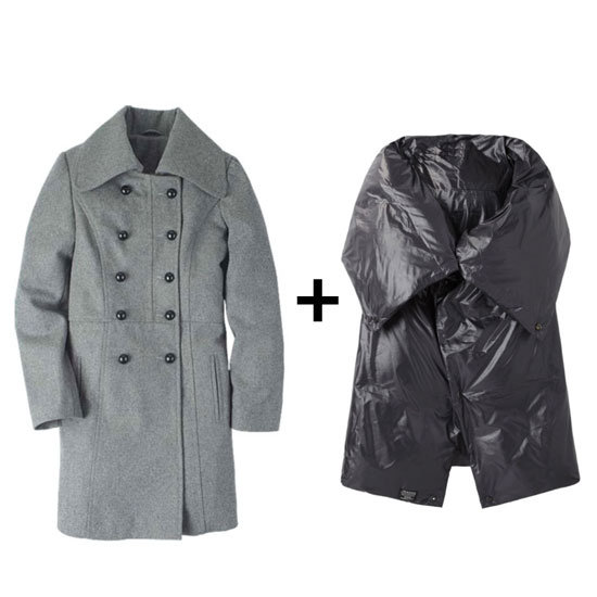 Add a more utilitarian touch to your weekend look and style your classic gray peacoat with a black puff coat.   Alloy Military Peacoat ($30, originally $100) Zucca Puffer Vest ($487)