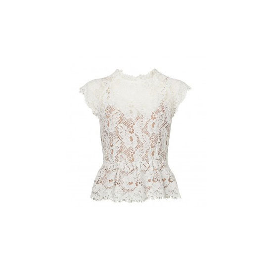 Texture works a treat in white, so make it pretty in peplummed lace. Top, $169.95, Witchery