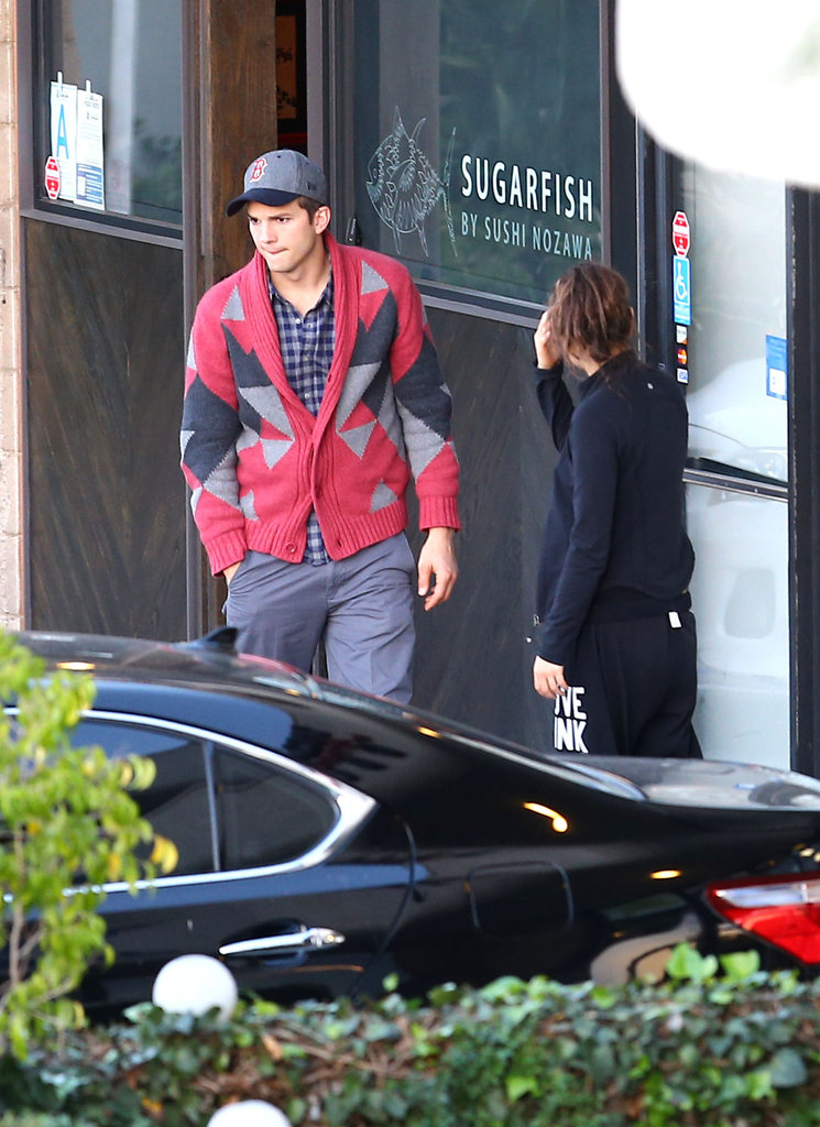 Ashton Kutcher and Mila Kunis went to lunch.