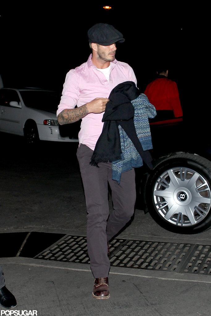 David Beckham wore a pink shirt.