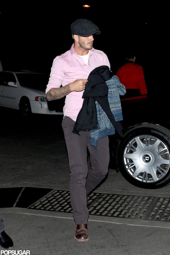 David Beckham wore a pink shirt.