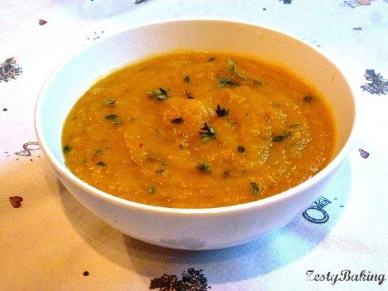 Spicy Pumpkin & Lemon Thyme Soup by ZestyBaking